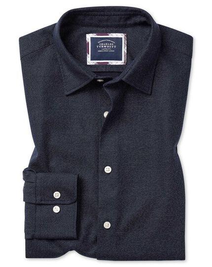 Vorgewaschenes Slim Fit Hemd aus Strukturgewebe mit Wabenmuster in Marineblau