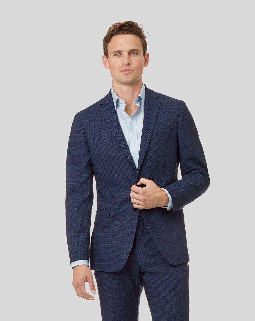 Mini Grid Suit Jacket - Mid Blue