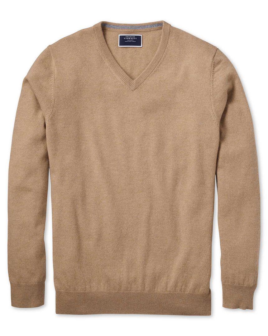 Tan v-neck pure cashmere jumper