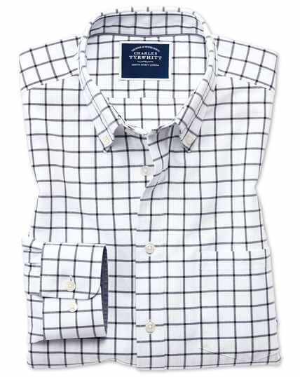 Oxfordhemd Slim Fit mit Button-down-Kragen und Windowpane-Karos in Weiß und Marineblau