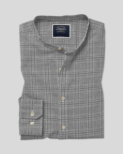 Collarless Check Shirt - Black & White