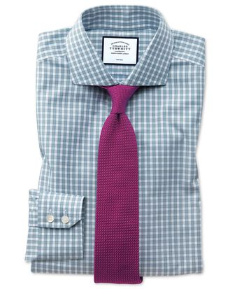 Slim fit non-iron twill teal gingham shirt