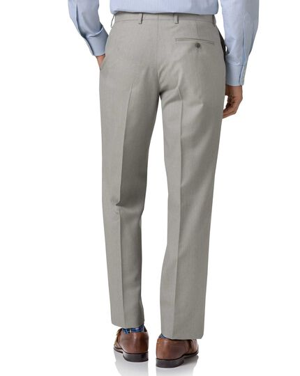 Pantalon de costume business gris clair en twill coupe droite