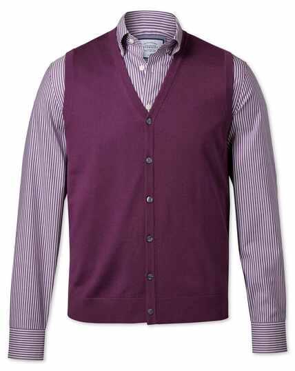 Gilet sans manches violet foncé en laine mérinos