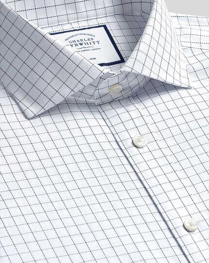 Cutaway Collar Non-Iron Cotton Stretch Check Shirt - Blue