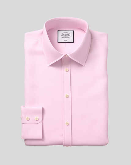 Bügelfreies Twill Hemd mit Kent-Kragen - Rosa