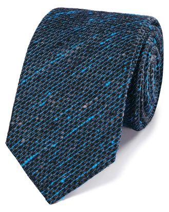 Bright blue fleck luxury silk tie