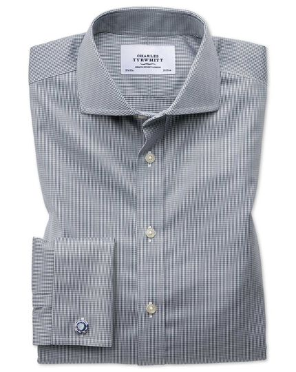 Slim fit cutaway non-iron puppytooth dark grey shirt