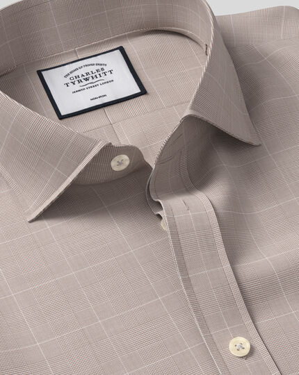 Cutaway Collar Non-Iron Cotton with TENCEL™ x REFIBRA™ Check Shirt - Taupe