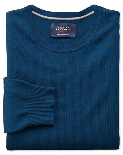 Blue merino wool crew neck sweater