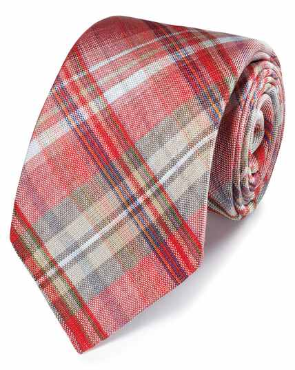 Red check linen silk Italian luxury tie