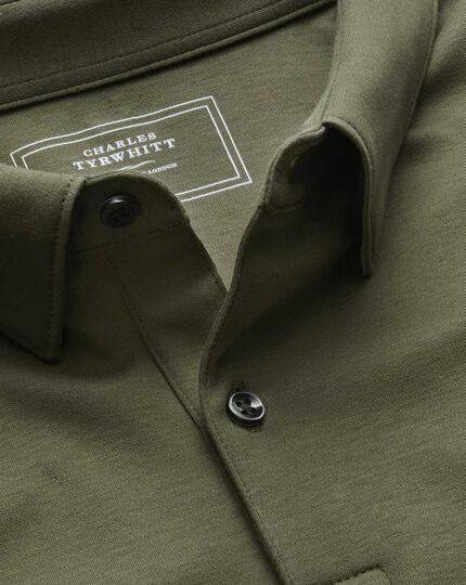 Olive jersey polo
