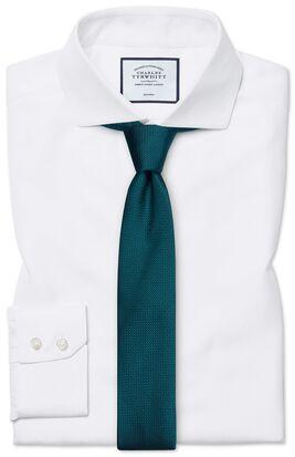 Extra slim fit non-iron white herringbone shirt