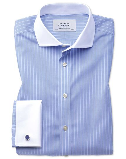 Extra slim fit spread collar non-iron Winchester blue and white shirt