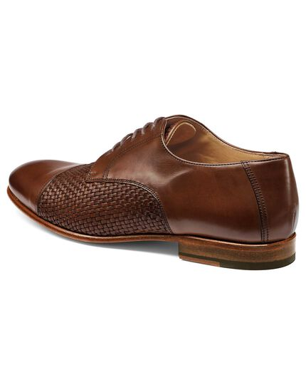 Tan woven Derby shoes