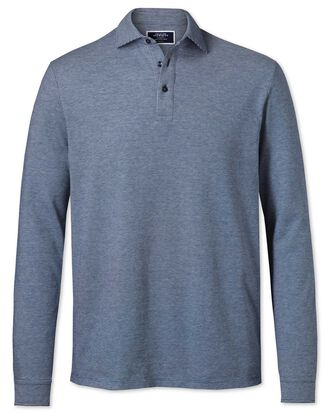 Blue and white long sleeve textured polo