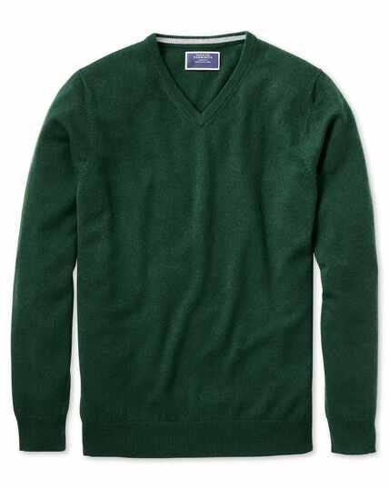 Green v-neck cashmere jumper
