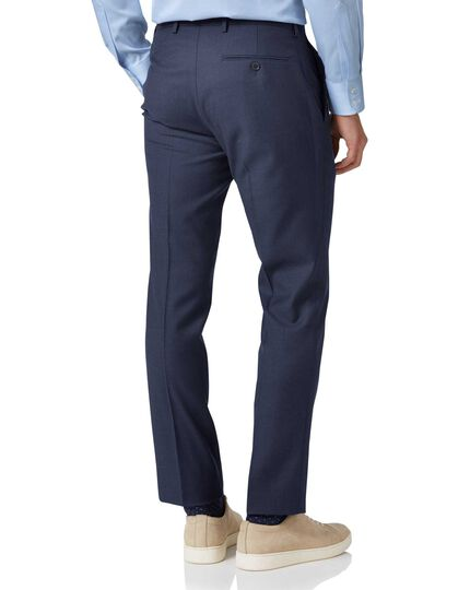 Mid blue slim fit twill business suit pants