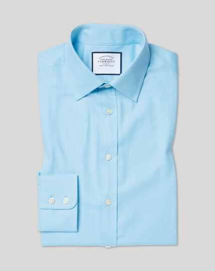 Classic Collar Egyptian Cotton Herringbone Shirt - Teal
