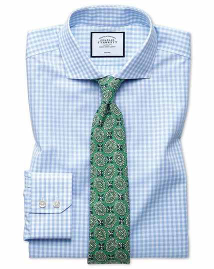 Slim fit non-iron sky blue check Tyrwhitt Cool shirt