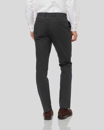 Non-Iron Dobby Stretch Pants - Charcoal
