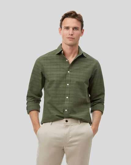 Hemd mit Kent Kragen und Ton-in-Ton-Karos - Olivgrün