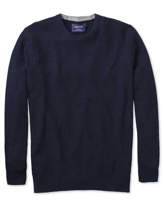 Pull bleu marine en laine mérinos et coton avec col rond