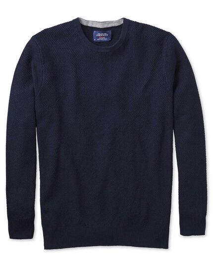 Navy merino cotton crew neck sweater