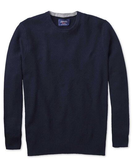 Navy merino cotton crew neck jumper