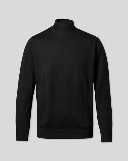 Merino Turtle Neck Sweater - Black