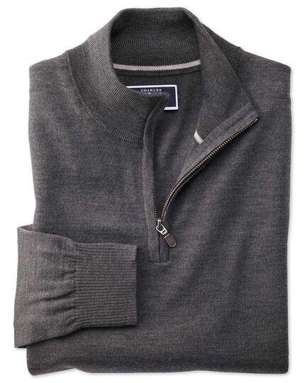 Charcoal merino wool zip neck jumper