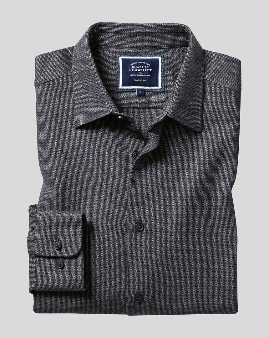 Classic Collar Dobby Flannel Textured Shirt - Brown & Blue
