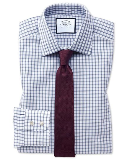 Extra slim fit blue windowpane check shirt