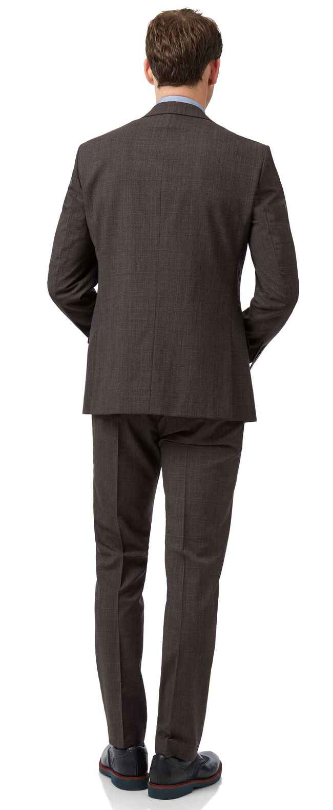 Brown Prince of Wales check slim fit suit