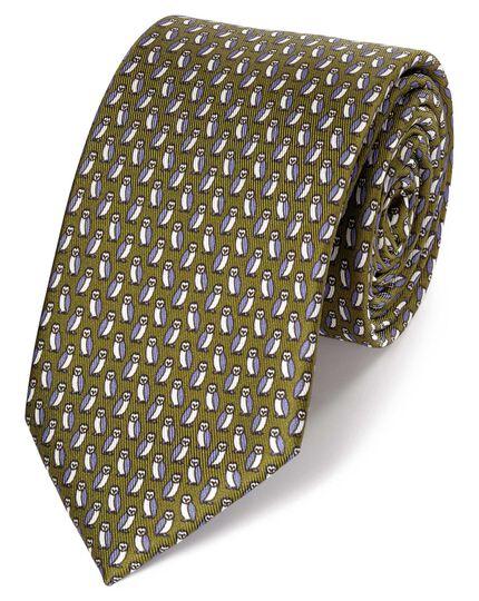 Olive owl print classic silk tie