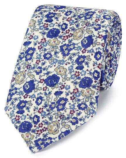 Italienische Luxuskrawatte aus Seide mit Blumenmuster in Royal