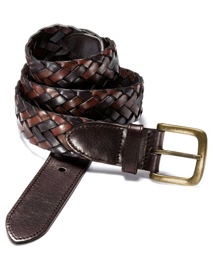 Brown casual plait belt