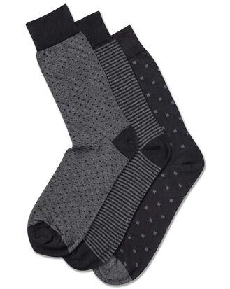 Multi pattern cotton rich 3 pack socks