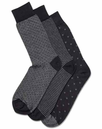 Multi pattern cotton rich 3 pack socks
