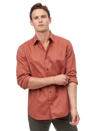 Classic Collar Seasonless Textured Shirt - Orange