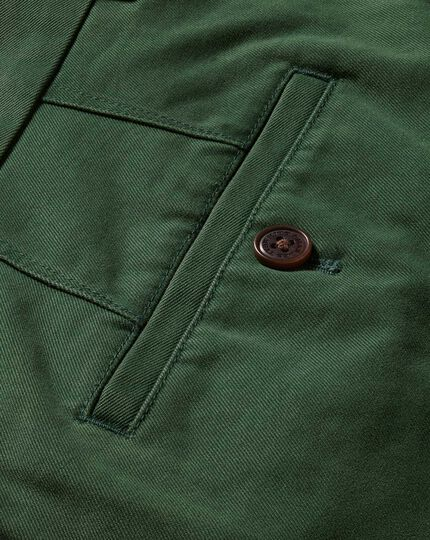 Green slim fit flat front washed chinos