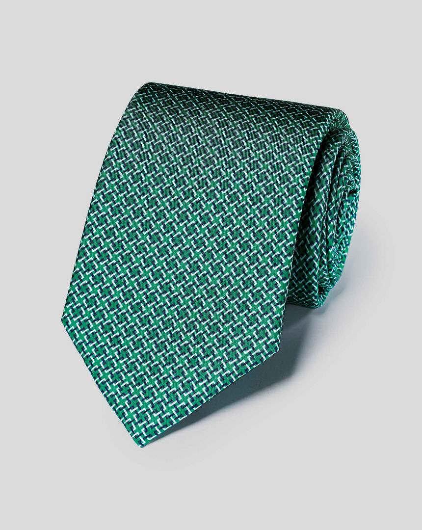 Cross-Hatch Geometric Print Tie - Green