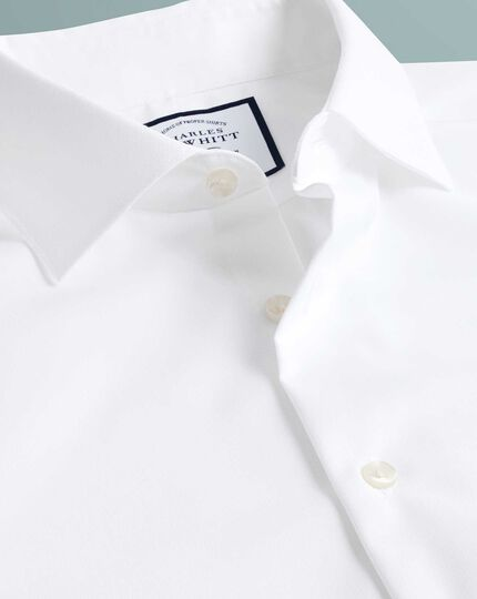 Extra slim fit semi-cutaway business casual non-iron modern textures white shirt
