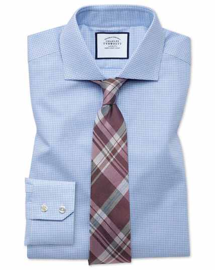 Slim fit spread collar textured puppytooth sky blue shirt
