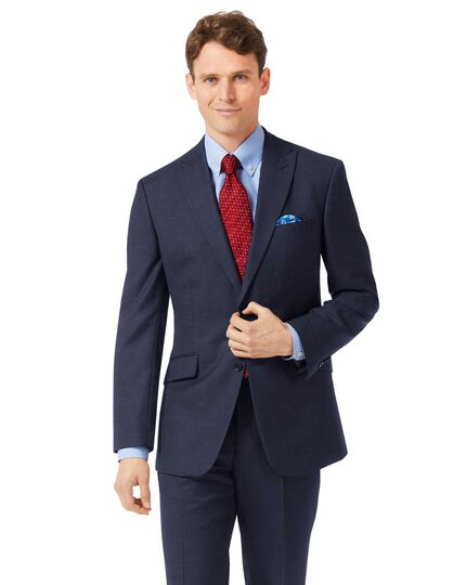 Navy classic fit jaspe business suit jacket