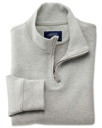 Light grey half zip jersey jumper