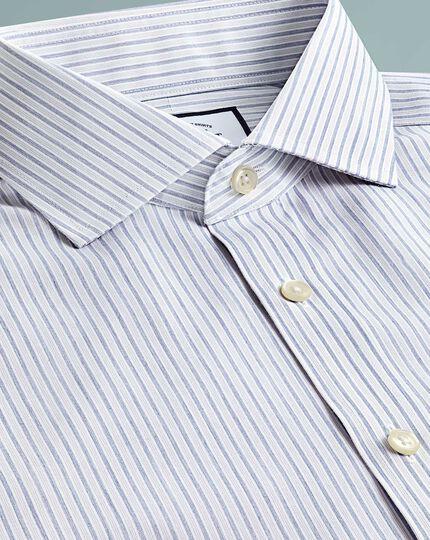 Slim fit non-iron shadow stripe grey shirt