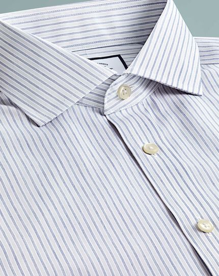 Extra slim fit non-iron shadow stripe grey shirt