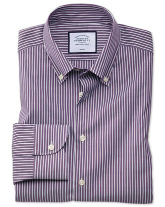 Classic fit business casual non-iron button-down purple and white stripe shirt