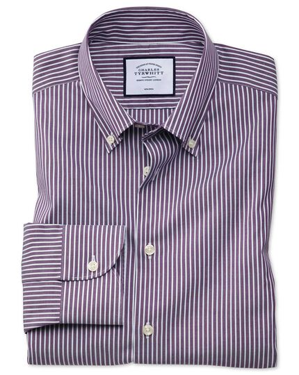 Chemise business casual à rayures violettes et blanches et col boutonné coupe droite sans repassage